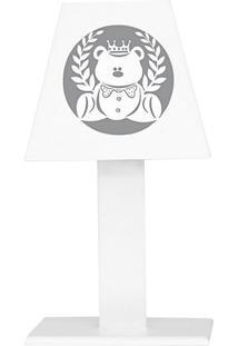 Abajur Urso Rei Branco Mdf - Branco - Ursinhos