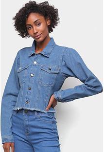 Jaqueta Jeans Influencer Cropped Manga Bufante Barra Desfiada Feminina - Feminino-Azul