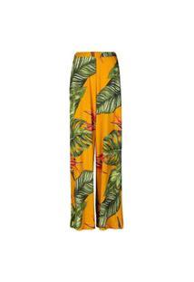 Calça Feminina Pantalona Folhagem Mostarda