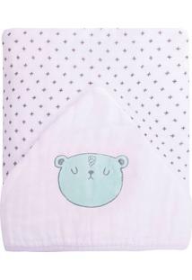 Toalha De Banho Papi Soft Forrada Urso Branco - Kanui