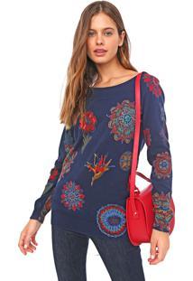 Blusa Desigual Tricot Bantry Azul-Marinho/Vermelha