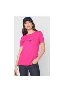Camiseta Tommy Hilfiger Logo Bordado Rosa