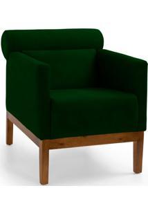 Poltrona Decorativa Fixa Base De Madeira Aspen Veludo Verde B-303 - Lyam Decor