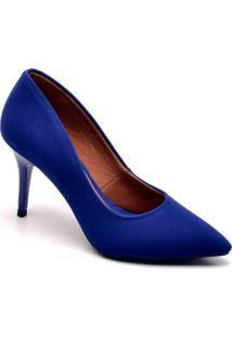 Scarpin Ellas Online Salto Médio Feminino - Feminino-Azul