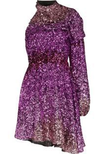 Halpern Vestido Assimétrico Com Paetês - Rosa