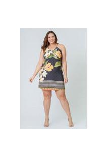 Vestido Almaria Plus Size Munny Curto Detalhe Alça Azul Marinho
