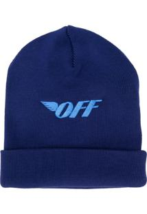 Off-White Gorro Com Estampa De Logo - Azul