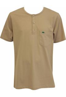 Camiseta Pau A Pique Botões - Masculino-Bege