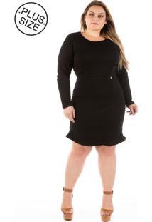 Vestido Jeans Plus Size - Confidencial Extra Com Babado Lucky Black Plus Size - Tricae