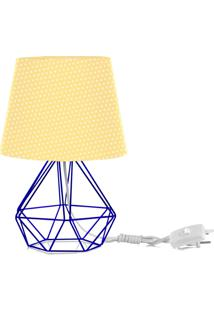 Abajur Diamante Dome Amarelo/Bolinha Com Aramado Azul - Amarelo - Dafiti