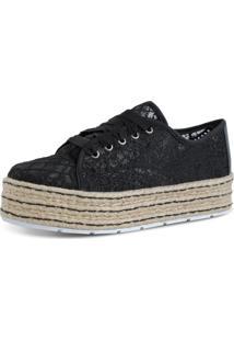 Tênis Prime Shoes Renda Preta
