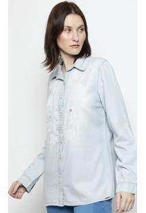 Camisa Jeans Com Bordados - Azul & Brancascalon