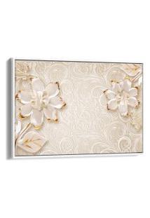 Quadro 60X90Cm Abstrato Flores Douradas E Brancas Fundo Bege Canvas Moldura Flutuante Branca