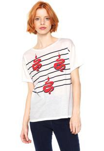 Camiseta Letage Snake Stripes Branca