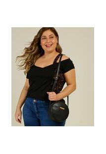 Blusa Plus Size Feminina Open Shoulder Folhas