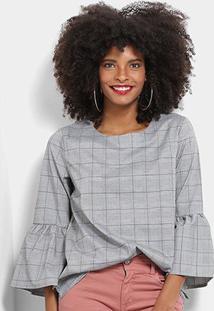 Blusa Lily Fashion Principe De Gales Manga Sino Feminina - Feminino-Vermelho