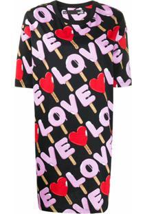 Love Moschino Vestido Reto Com Estampa Love - Preto