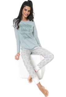 Pijama Pzama Estampado Off-White/Verde