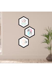 Kit 2 Quadros Com Moldura Hexagonal Geometric Color