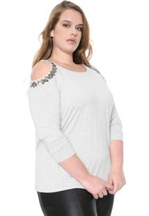 Blusa Cativa Plus Open Shoulder Cinza
