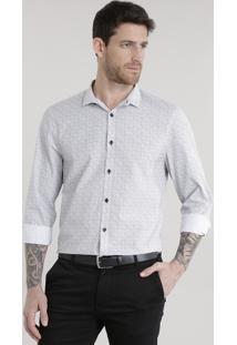Camisa Slim Estampada Geométrica Branca