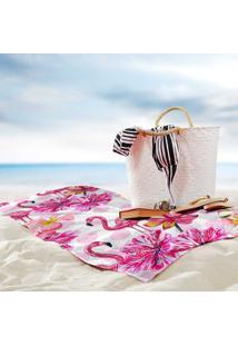 Toalha De Praia / Banho Flamingos Premium