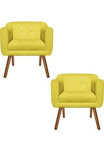 Kit 02 Poltronas Decorativa Julia Suede Amarelo Com Strass - D'Rossi - Amarelo - Dafiti