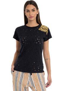 T-Shirt Moikana Malha Perfurate - Feminino-Preto