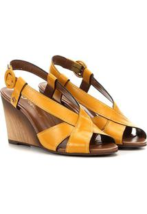 Sandália Anabela Capodarte Bamboo Feminina - Feminino-Amarelo