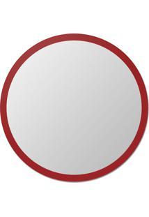 Espelho De Parede Redondo Edge - 130 Borda Vermelha Vidrotec