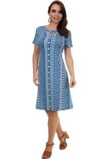 Vestido Pau A Pique Vazado Feminino - Feminino-Azul