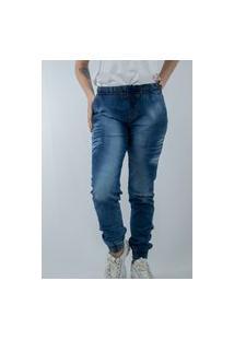 Calça Jogger Jeans K2 Fashion Top Feminino Azul