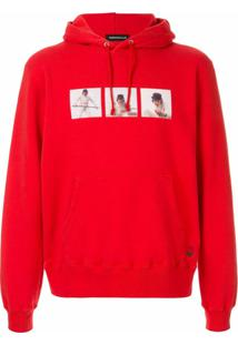 Undercover Photo-Print Drawstring Hoodie - A Red