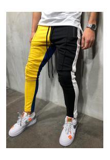Calça Masculina Moletom Max Slim Duas Cores - Preto E Amarelo