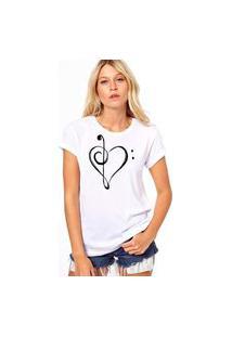 Camiseta Coolest Coraçao Musical Branco