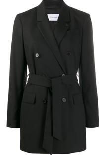 Calvin Klein Blazer Longo Com Cinto - Preto