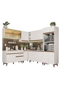Cozinha Completa De Canto Madesa Reims 452001 Com Armário E Balcão Branco Cor:Branco