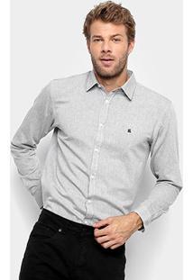 Camisa Social Manga Longa Foxton Oxford Masculina - Masculino-Preto