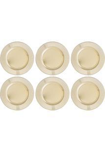Jogo 6 Sousplats De Plástico Bright 33Cm Dourado Bon Gourmet