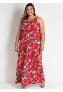 Vestido Longo Floral Vermelho De Alças Plus Size