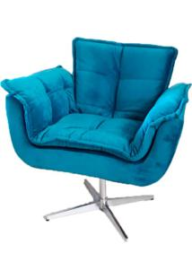 Poltrona Decorativa Opala Azul Turquesa Giratã³Ria Meunovolar - Azul - Dafiti
