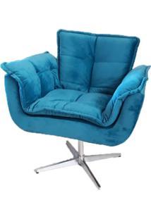 Poltrona Decorativa Opala Azul Turquesa Giratória Meunovolar