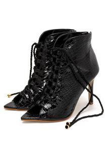 Sandália Bota Ankle Boot Salto Alto Feminina Confortável Em Croco Verniz Preto