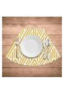 Jogo Americano Para Mesa Redonda Wevans Abstract Yellow Kit Com 6 Pçs