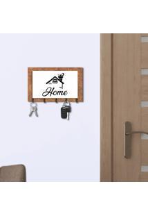 Porta Chaves E Cartas Casa Home Corten E Branco Com Relevo Preto Único
