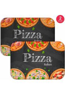 Jogo Americano Love Decor Pizza Italian Preto - Kanui