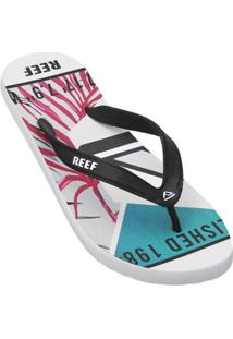 Chinelo Reef Switchfoot Leaves Masculino - Masculino-Branco+Verde
