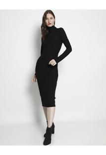 Vestido MãDi Canelado Com Recortes - Preto - Forumforum