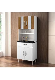 Cozinha Compacta Ventura 4 Pt 1 Gv Branco E Caramelo