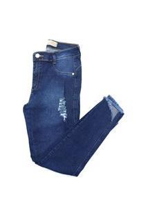 Calça Jeans Feminina Skinny Cintura Alta Barra Desfiada Azul Escuro